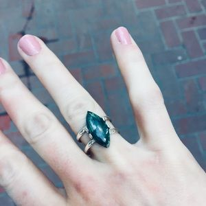 Natural Jasper and 925 Sterling Silver Ring Size 8